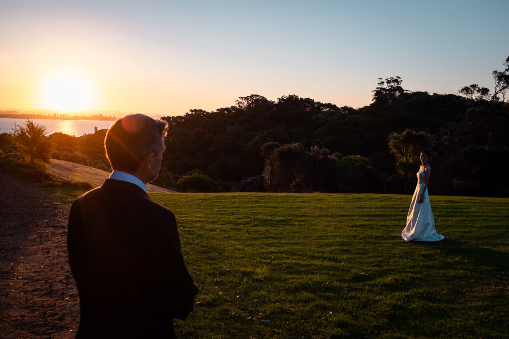 Couple portrait in the sunset New Zealand