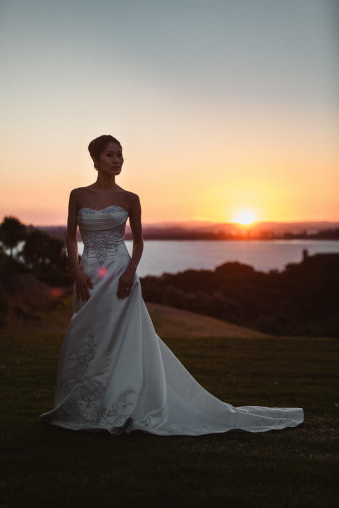 Portrait of a Bride at the sunset in New Zealand